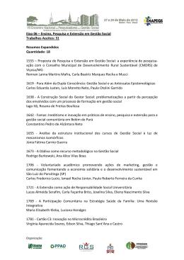 Eixo 06 – Ensino, Pesquisa e Extensão em Gestão Social