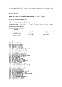 CONVOCAÇÃO EDITAL/PSS Nº 01/2015 de 05 de janeiro de 2015