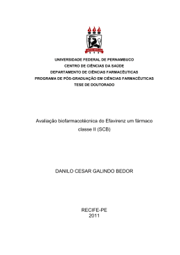 Avaliação biofarmacotécnica do Efavirenz um fármaco classe II (SCB)