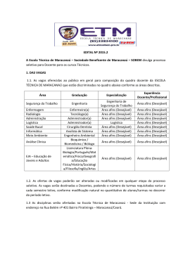 EDITAL Nº 2015.2 A Escola Técnica de Maracanaú – Sociedade