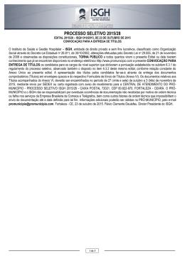 processo seletivo 2015/28 - Pró