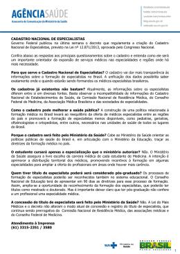CADASTRO NACIONAL DE ESPECIALISTAS Governo Federal