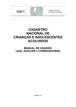 Cadastro Nacional de Crianças e Adolescentes Acolhidos (CNCAA)