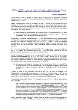 O Oficial de RCPN e o desuso do número de inscrição no