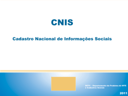 Cadastro Nacional de Informações Sociais (CNIS) - Cláudia