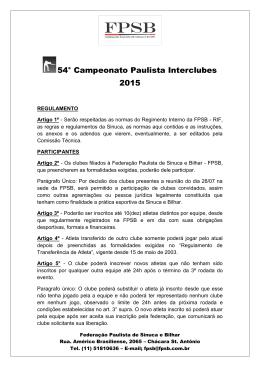 54° Campeonato Paulista Interclubes 2015