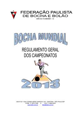 regra fpbb 2013 - Liga Campineira de Bocha