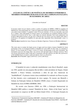 analise da cinetica de potencia de membros superiores e membros