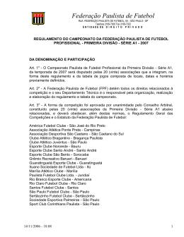 Visualize o Regulamento do Campeonato Paulista 2007 na