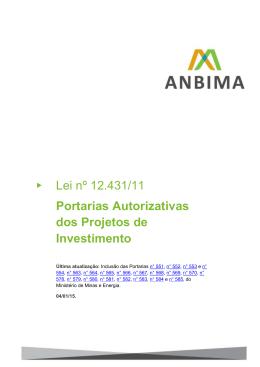 Lei nº 12.431/11 Portarias Autorizativas dos Projetos de