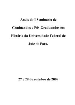 Anais do I Seminário de Graduandos e Pós