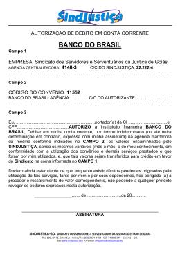 Autorização de Débito – BANCO DO BRASIL