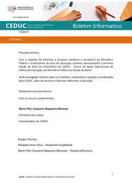 Boletim Informativo Nº 001/2015 - Ministério Público do Estado da