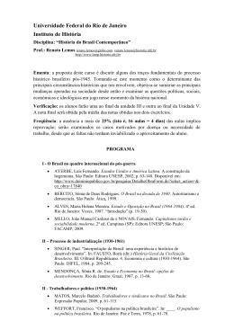 """Disciplina: """"História do Brasil Contemporâneo"""""""