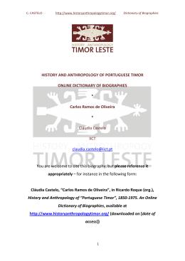 OLIVEIRA, Carlos M. Ramos de - Timor Leste – History Anthropology