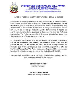 prefeitura municipal de vila pavão