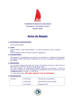 61d901d3f0d Aviso de Regata - 7º Campeonato Baiano da Classe Dingue