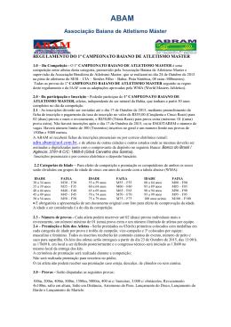 REGULAMENTO DO 1º CAMPEONATO BAIANO DE