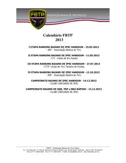 Calendário FBTP 2013
