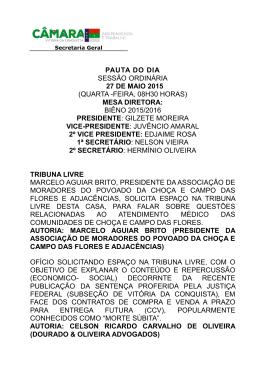 pauta do dia sessão ordinária 27 de maio 2015