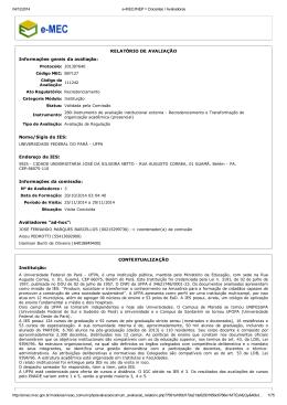 RELATÓRIO DE AVALIAÇÃO Informações gerais da - CPA