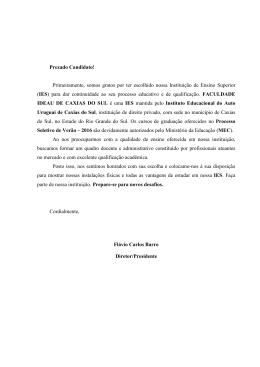 Manual Vestibular de Verão 2016 Caxias do Sul