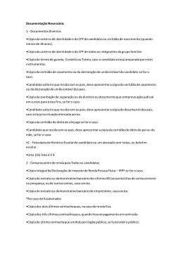 Documentação Necessária - tecnicos.setrem.com.br