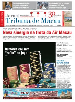 Nova sinergia na frota da Air Macau