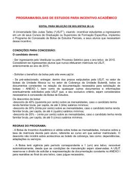 PROGRAMA/BOLSAS DE ESTUDOS PARA INCENTIVO ACADÊMICO