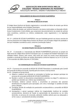 REGULAMENTO DE BOLSA DE ESTUDOS FILANTRÓPICA