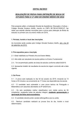 edital 04/2015 realização de prova para obtenção de bolsa de