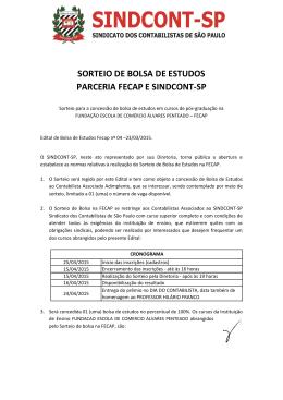 SORTEIO DE BOLSA DE ESTUDOS PARCERIA - Sindcont-SP