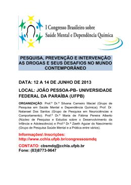 Programa - CCHLA - Universidade Federal da Paraíba