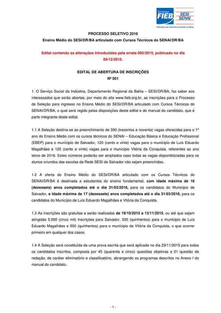 abertura das inscrições002 Curso Do Senai 2015 #1