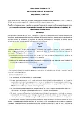 Regulamento da FCT-UNL - Faculdade de Ciências e Tecnologia