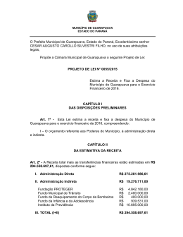 Projeto de Lei – LOA 2016 - Prefeitura Municipal de Guarapuava
