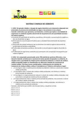 MATÉRIA E ENERGIA NO AMBIENTE