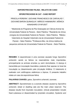 ESPOROTRICOSE FELINA - RELATO DE CASO