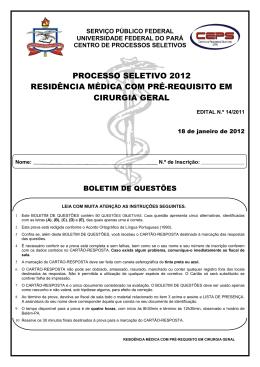 prova residência médica - cirurgia geral - Ceps
