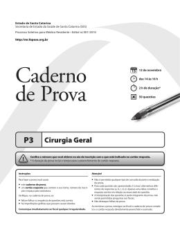 P3 Cirurgia Geral - processo seletivo de residência médica