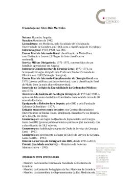 Currículum - Centro Cirúrgico de Coimbra