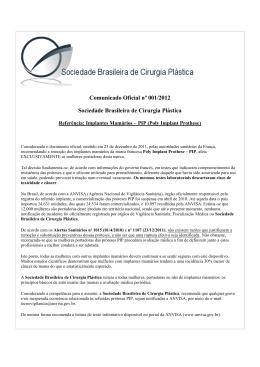 Comunicado Oficial nº 001/2012 Sociedade Brasileira de Cirurgia