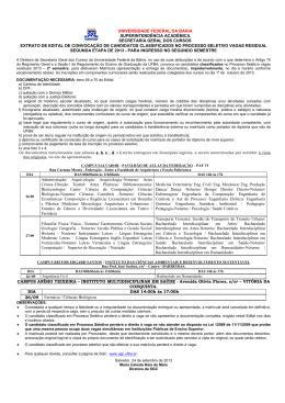 Edital de convocação para Matrícula - Vagas Residuais