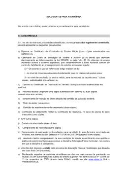 Documentos necessários para a matrícula