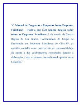 """""""O Manual de Perguntas e Respostas Sobre Empresas Familiares"""