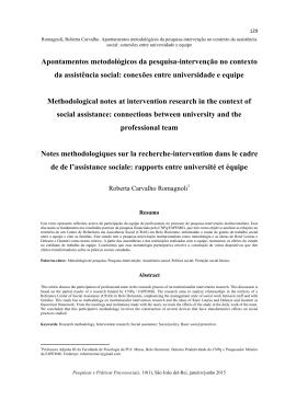 Apontamentos metodológicos da pesquisa-intervenção no