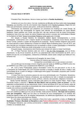 Natal-RN, 02/02/2015 Circular Geral nº 001/2015 Prezados Pais