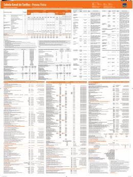 Tabela Geral de Tarifas - Pessoa Física