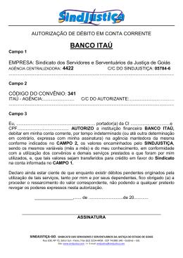 Autorização de Débito – BANCO ITAÚ