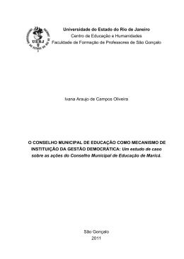 O Conselho Municipal de Educação como mecanismo de Instituição